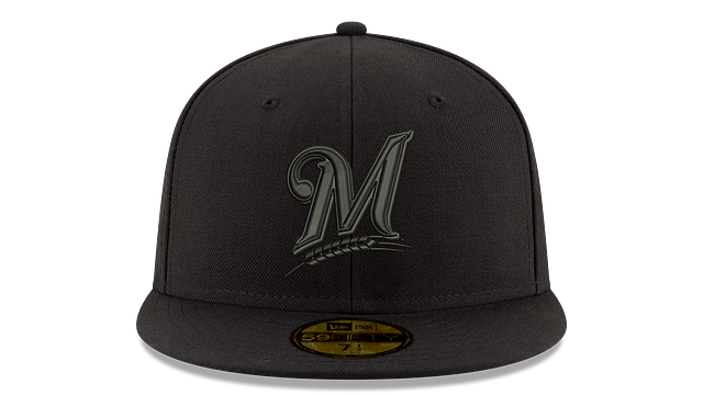 MILWAUKEE BREWERS MLB BLACK ON BLACK 59FIFTY FITTED