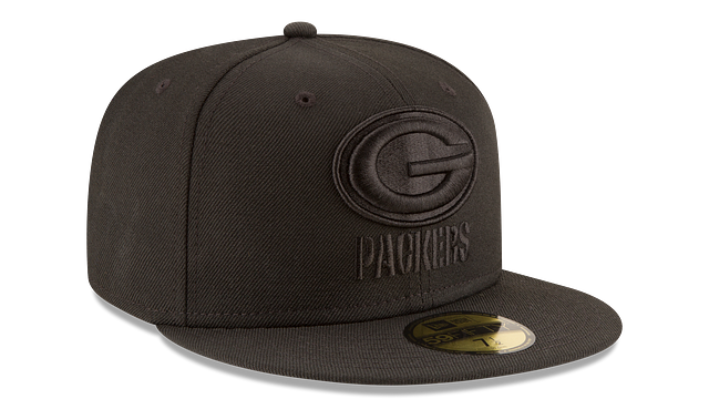 GREEN BAY PACKERS BLACK ON BLACK 59FIFTY FITTED