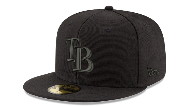 TAMPA BAY RAYS MLB BLACK ON BLACK 59FIFTY FITTED