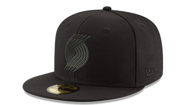 PORTLAND TRAILBLAZERS BLACK ON BLACK 59FIFTY FITTED