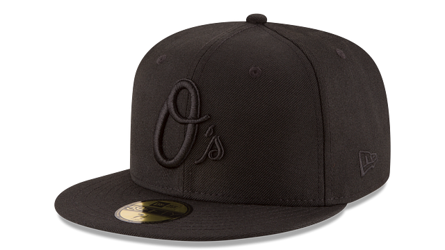 BALTIMORE ORIOLES BLACK ON BLACK 59FIFTY FITTED