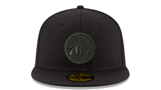 PHILADELPHIA 76ERS BLACK ON BLACK 59FIFTY FITTED
