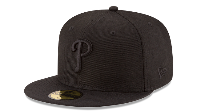 PHILADELPHIA PHILLIES BLACK ON BLACK 59FIFTY FITTED