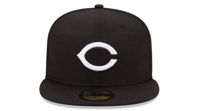 CINCINNATI REDS BLACK & WHITE 59FIFTY FITTED