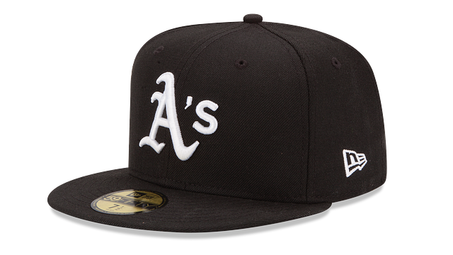 OAKLAND ATHLETICS BLACK & WHITE 59FIFTY FITTED
