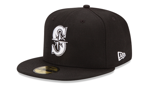 SEATTLE MARINERS BLACK & WHITE 59FIFTY FITTED