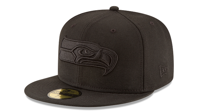 SEATTLE SEAHAWKS BLACK ON BLACK 59FIFTY FITTED
