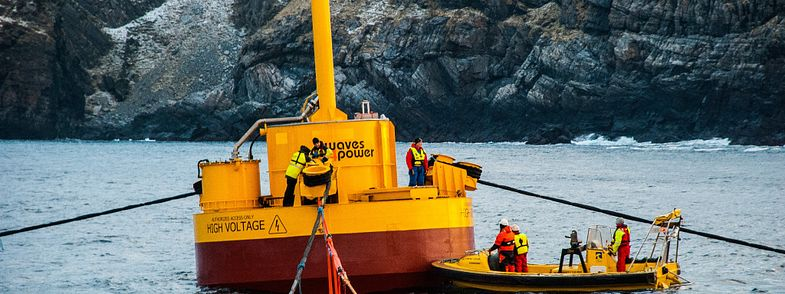 Dynamic cable being installed offshore on wave energy converters