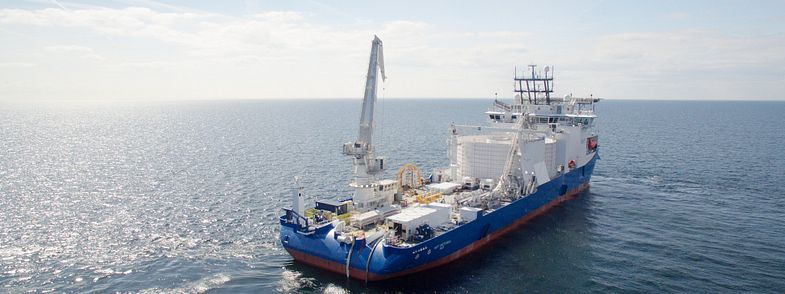 Cable laying vessel NKT Victoria laying a cable