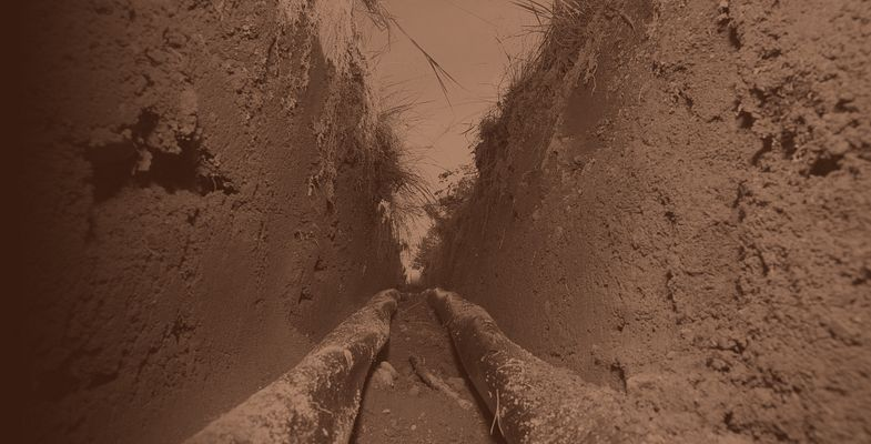 Close look into a cable trench