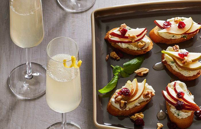 French 75 and Crostini With Lemon Basil Ricotta Spread
