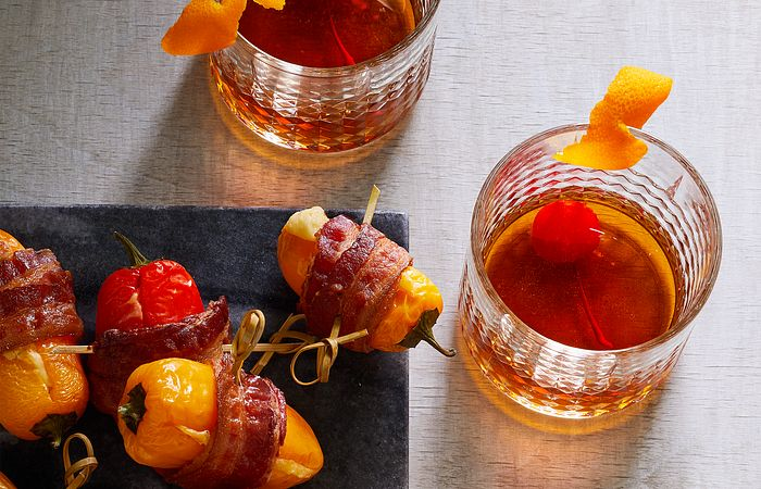 Old Fashioned and Bacon-Wrapped Stuffed Pepper Poppers