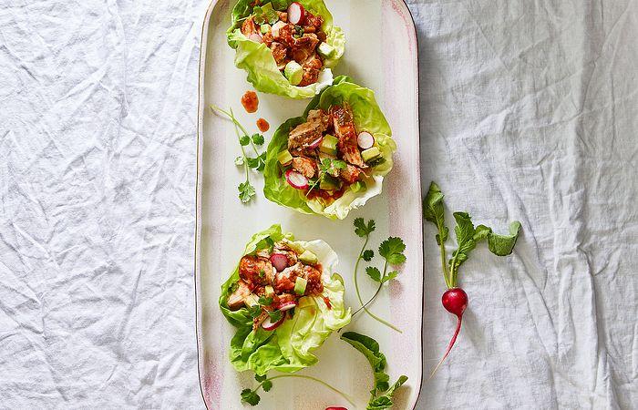 Quick Cooker Salsa Chicken Lettuce Wraps