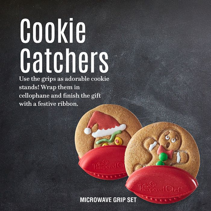 Cookie catchers. Use the grips as adorable cookie stands! Wrap them in cellophane and finish the gift with a festive ribbon. Microwave grip set.