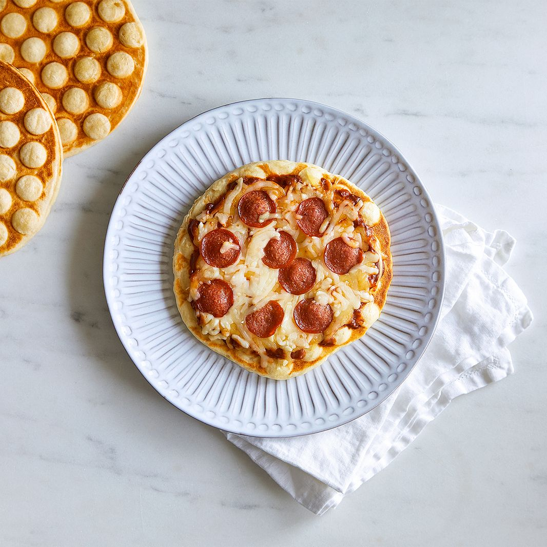 Pizza on a bubble waffle