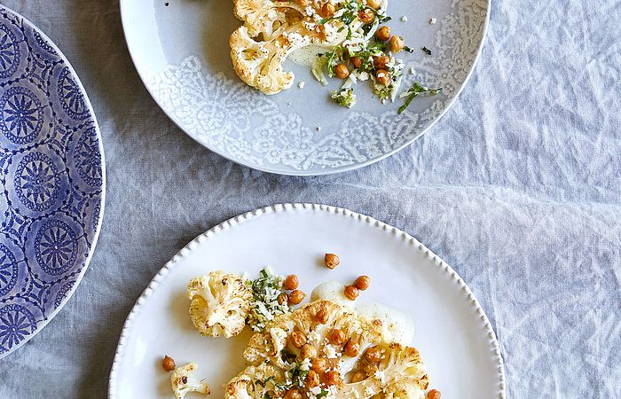 Roasted Cauliflower Steaks With Tabbouleh