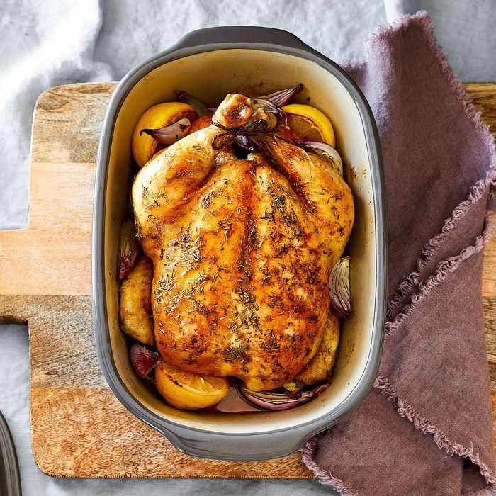 Juiciest Roast Chicken in the Deep Covered Baker