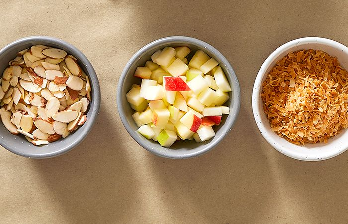 Bowls of Almonds, Apples, and Toasted Coconut