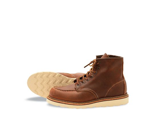 Men S Classic Moc 6 Inch Boot In Brown Leather 1907 Red