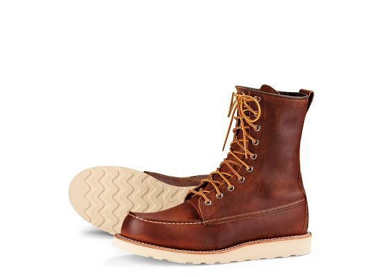 Men S 8 Inch Classic Moc Boot In Brown Leather 8830 Red