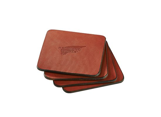 Oro Russet Pioneer Leather Coasters product photo