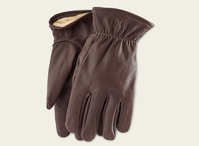 Brown Buckskin Leather Lined Glove product photo