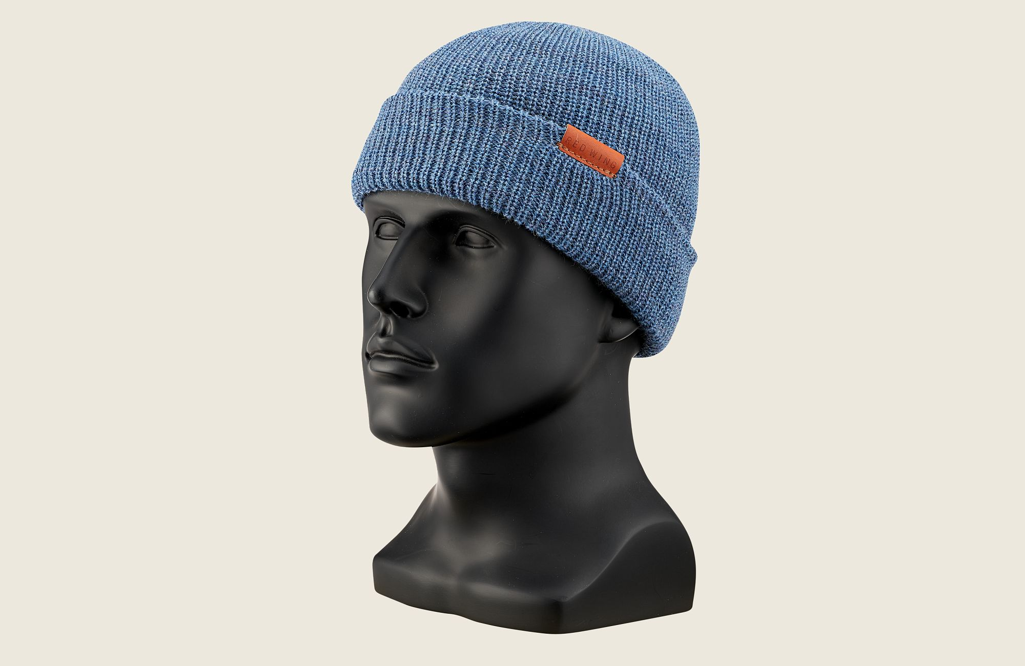 CAP, BLUE HEATHER WOOL KNIT image number 0