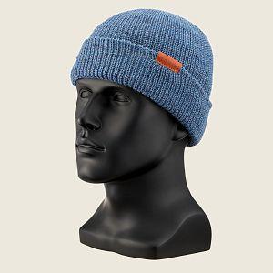 CAP, BLUE HEATHER WOOL KNIT