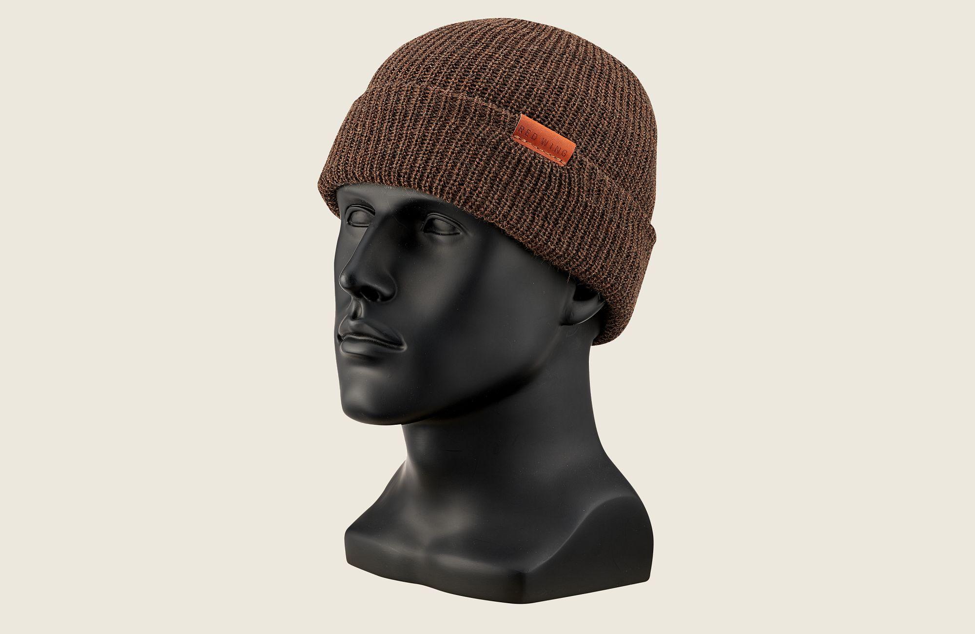 CAP, BROWN HEATHER WOOL KNIT image number 0