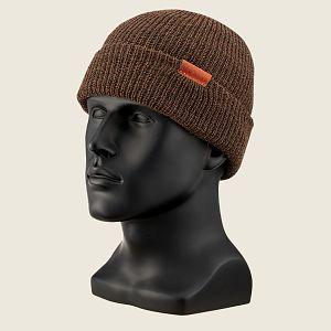 CAP, BROWN HEATHER WOOL KNIT