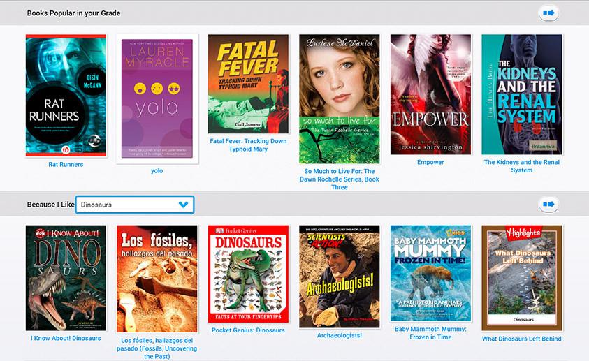 myON Motivation interest screenshot with upper grade interest books.