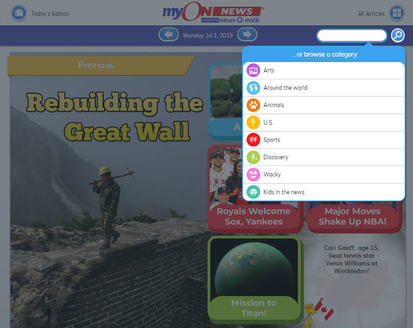 myON News screenshot - Rebuilding the Great Wall