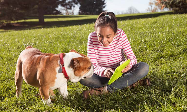 girl and dog in field using tablet