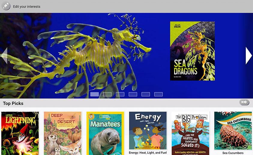 myON Motivation interest screenshot with animal books.