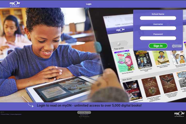 myON homepage