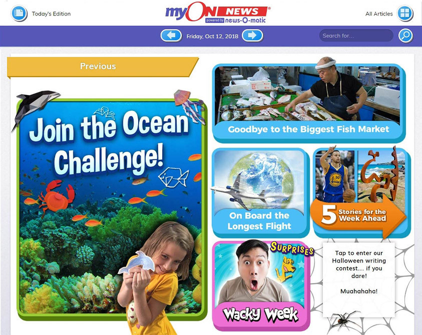 myON News screenshot - Join the Ocean Challenge