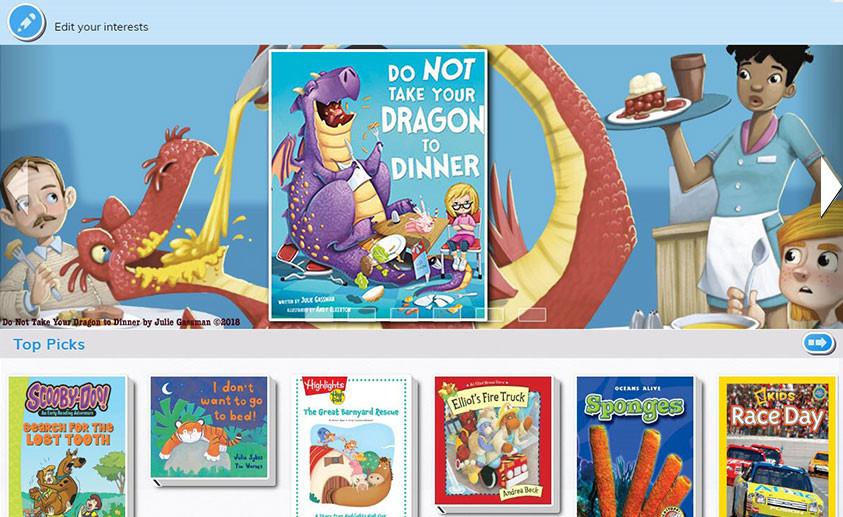 myON Motivation interest screenshot with dragon book.