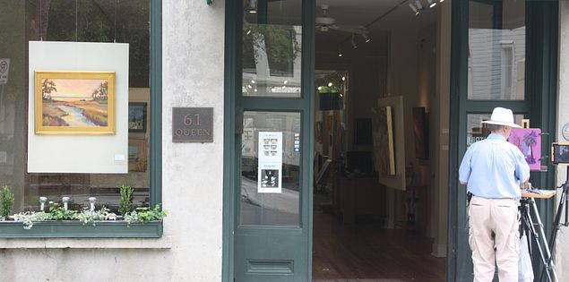Explore art galleries in downtown Charleston, SC.