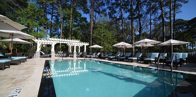 The lounge chairs around the boutique pool at Hilton Head's Inn & Club at Harbour Town