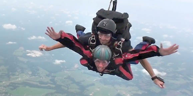 Skydiving through the skies over Chester, South Carolina
