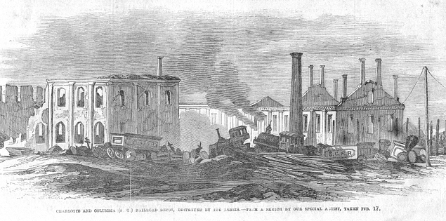 Drawing of railroad depot after burning in Columbia, South Carolina