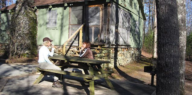 Picnic bench in Oconee State Park in South Carolina