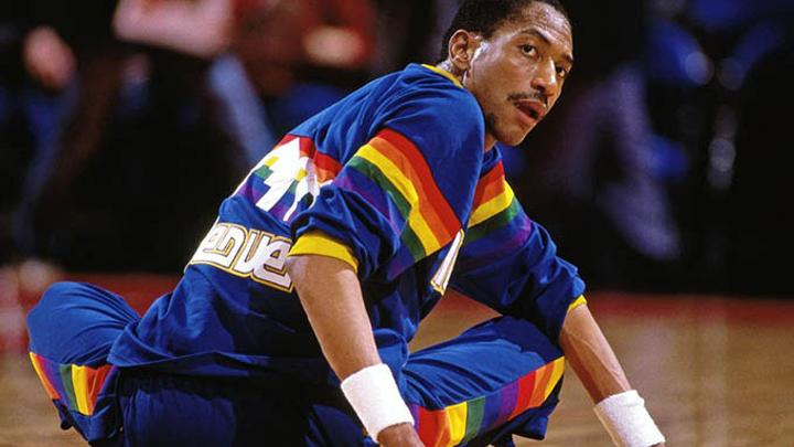 Alex English stretching before a game with the Denver Nuggets
