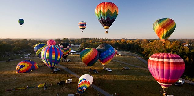 Hot air balloons over Anderson, SC.