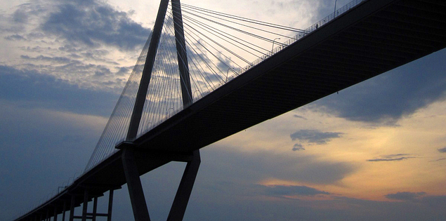South Carolina sunset over the Ravenel Bridge in Charleston Harbor
