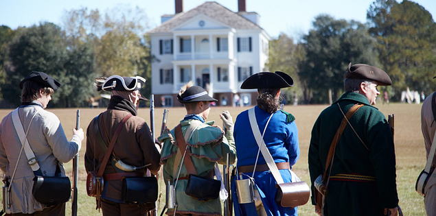 Kershaw House and reenactors in Camden, South Carolina