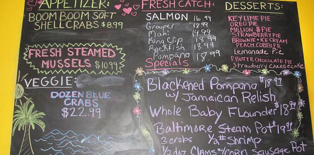 Menu at Mr. Fish's located in Myrtle Beach, South Carolina