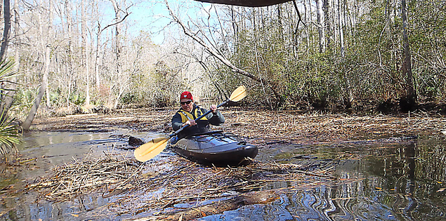 Kayaker navigating through historic South Carolina's New River in Bluffton