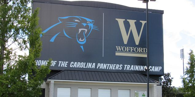 Carolina Panthers train at Wofford College Stadium