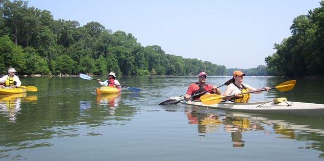 Broad River kayakers in Columbia, South Carolina
